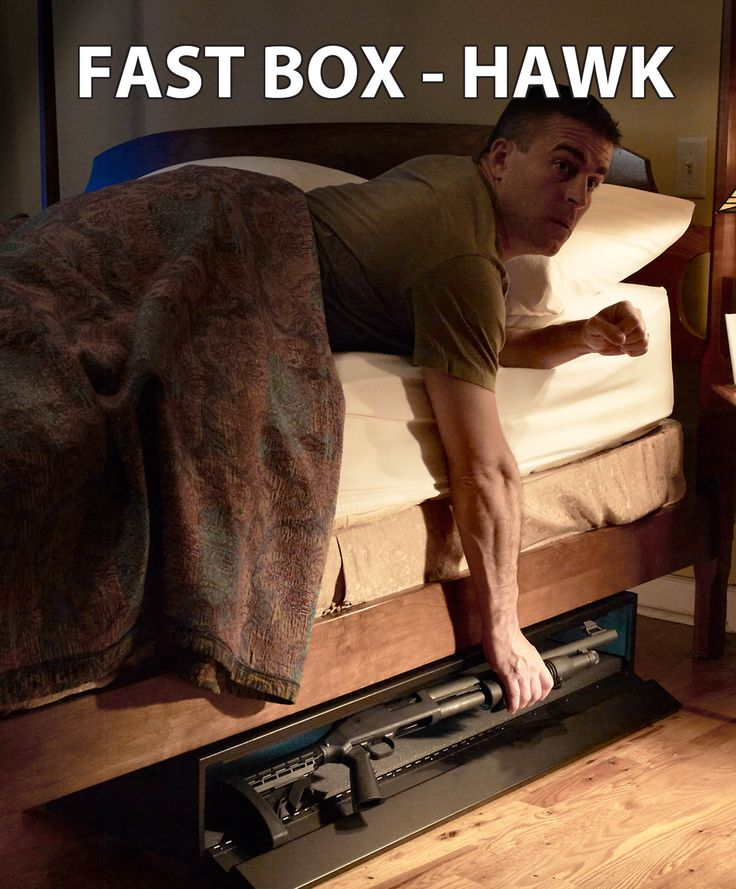 "FAST BOX Hawk. Fast access firearm storage for a long gun up to 46.5"" in length. Hardware included to attach to metal bed frame for home defense firearms."