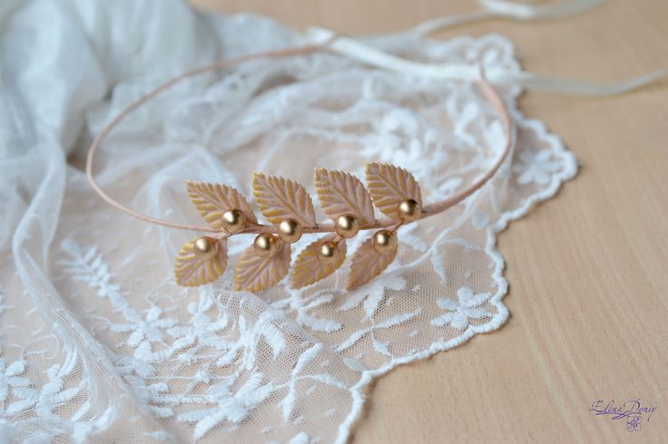 Wedding crown Peach bridal headband leaves gold crown Greek halo leaf crown peach gold wreath Roman Headband Wedding halo leaves tiara by Vualia on Etsy
