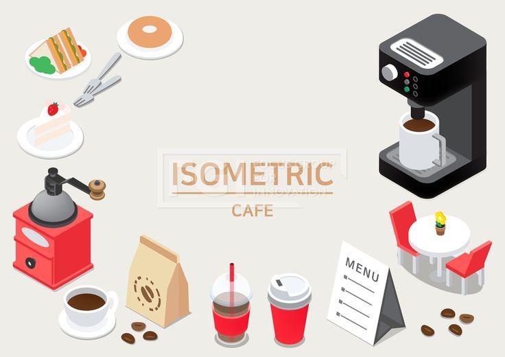 ILL193, 프리진, 일러스트, 프레임, 음식, 아이소메트릭, 그래픽, 입체, 오브젝트, 웹활용소스, 면, 다양한, 일러스트, 육면체, 3D, 도형, 컨셉, 테마, 주제, 레이아웃, 카페, 커피머신, 머신, 기계, 커피, 머그잔, 컵, 잔, 테이크아웃, 휴대용, 원두, 핸드밀, 그라인더, 접시, 디저트, 케이크, 포크, 베이글, 빵, 샌드위치, 식사, 음료, 테이블, 의자, 메뉴판, 메뉴, 화분, 꽃, 봉지, 빨대, 빨간, 빨강, 흰색, 회색, 초록, 노랑, 검정, 황토색, 갈색, 단면, #유토이미지