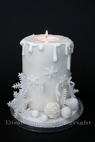 Its a cake and a candle! No recipe provided. Use other recipe for mini cakes baked in cans, frost, add a tea light on top and then more frosting on top to drape over. Add decorations to sides. Can cake recipe on cakes board.