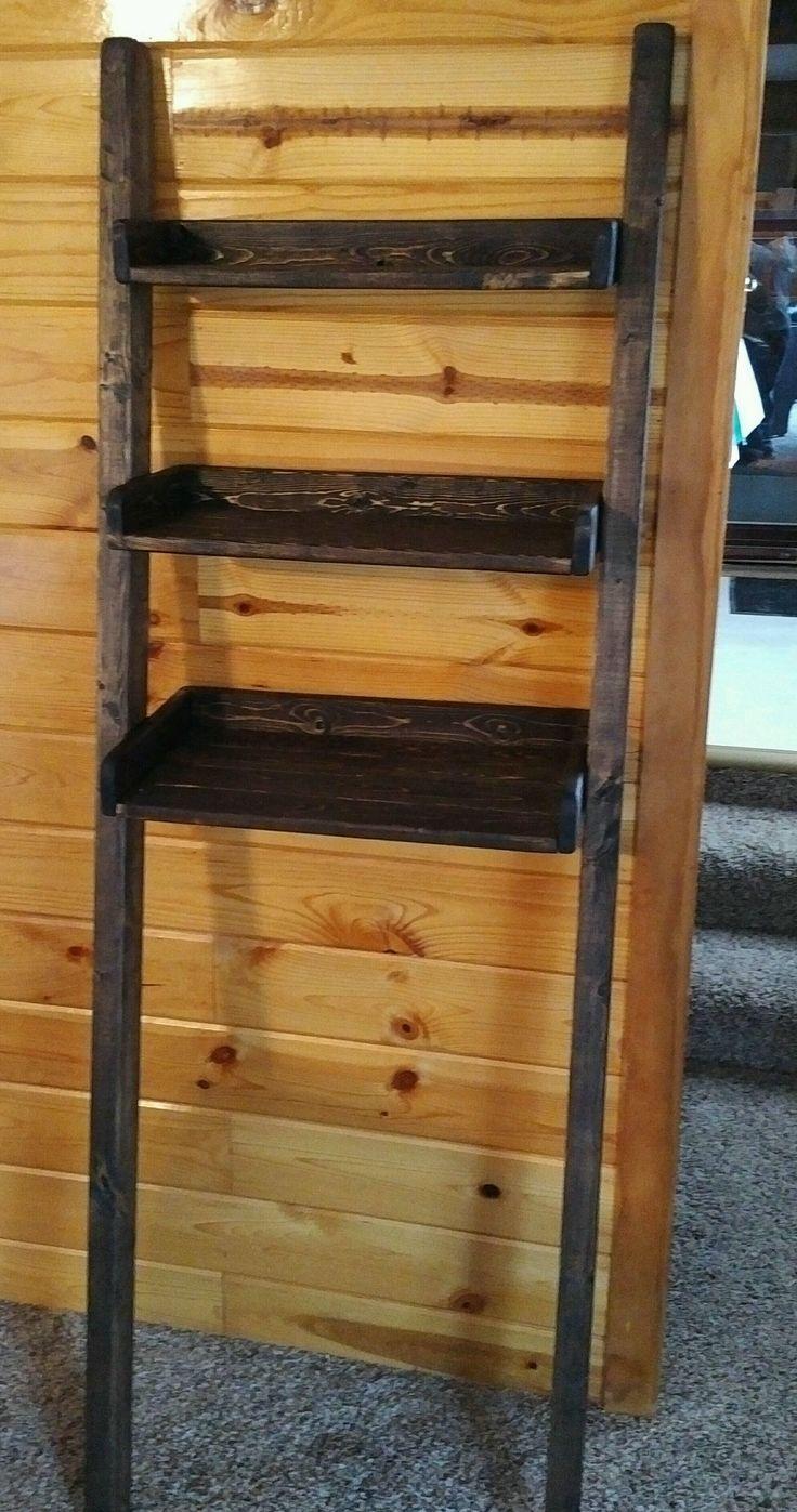 Custom Made Leaning Ladder Shelf In Dark Walnut Leaning