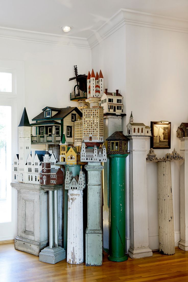 """Storybook Buildings, artisans unknown.  A vast, private collection of tiny folk-art structures By Sandy Keenan. Few know exactly what to call the collection of Americana that fills Steven Burke and Randy Campbell's Greek Revival compound in Hillsborough, NC. """"Neither common nor rare, they have never taken shape as a category of American artifact."""""""