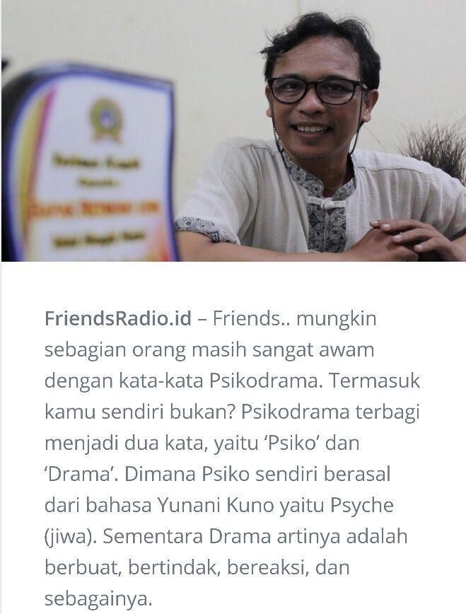 Belajar Psikodrama bersama Retmono Adhi di Friends Radio Jakarta http://friendsradio.id/belajar-mendalami-psikodrama-bersama-retmono-adi/