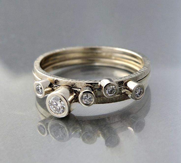KOMPLET ZŁOTYCH pierścionków bizoe z brylantami białe złoto