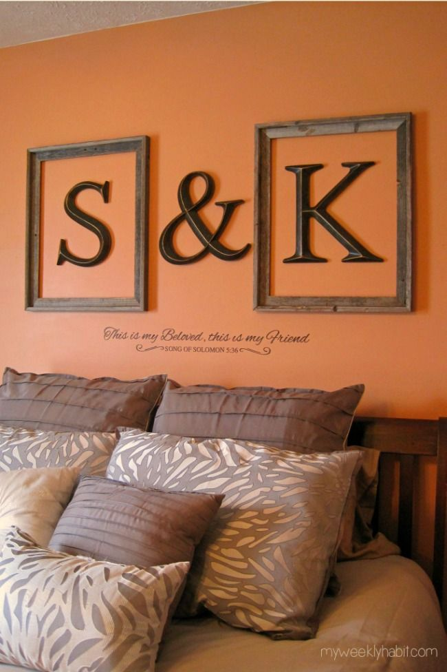 Looking for a fresh update to your bedroom decor? Try framing initials in open frames like in this mini bedroom makeover! Finish with a vinyl quote below for a customized look! Framed Letters, Framed Initials, Letters On Wall Decor, Framed Monogram, Wood Letters, Home Bedroom, Bedroom Ideas, Master Bedrooms, Bedroom Wall Decorations
