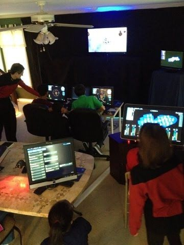 Great party idea for sci-fi and Star Trek fans! Artemis Spaceship Bridge Simulator with lights and touchscreens!