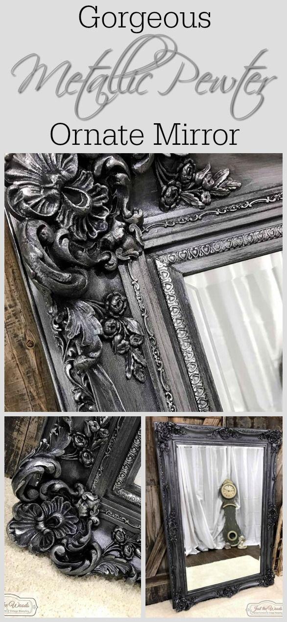 Metallic Pewter Ornate Painted Mirror