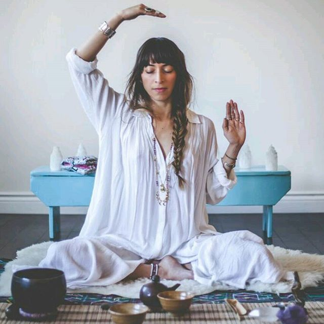 """Meditation to Create Self-LOVE. For the #AquarianWoman ( wearing the #KundaliniGown designed by yours truly) When you are fearful and self critical, your nervous system is negatively affected. """"Love doesn't rule you,"""" says #YogiBhajan """"through this kriya love can be invoked and fear can be reduced."""" This meditation not only helps conquer fear but also stimulates your energy, opens your heart chakra for more love and compassion and gives you strength to stay in that center! How to: Sit in…"""