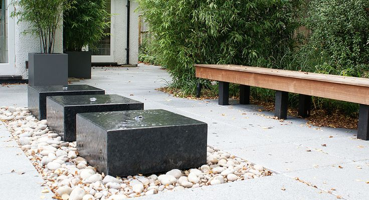 contemporary child friendly water feature | cube bubbling fountains ||  harpPort7 designer rosemary coldstream UK