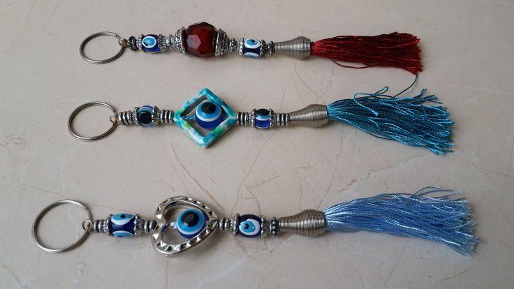 Set of 3 Evil Eye Key Chain Handmade beaded and tasseled by Myowncoffee on Etsy