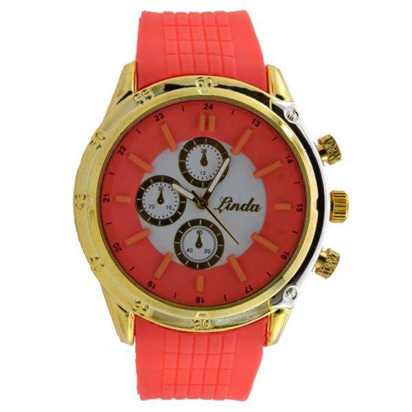 Γυναικείο ρολόι με λουρί σιλικόνης κοραλί 033