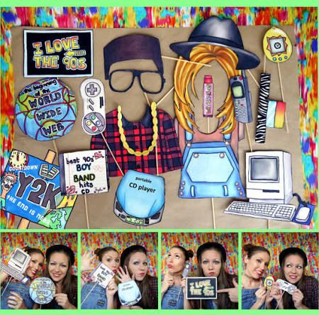 90's party photo booth backdrop - Google Search