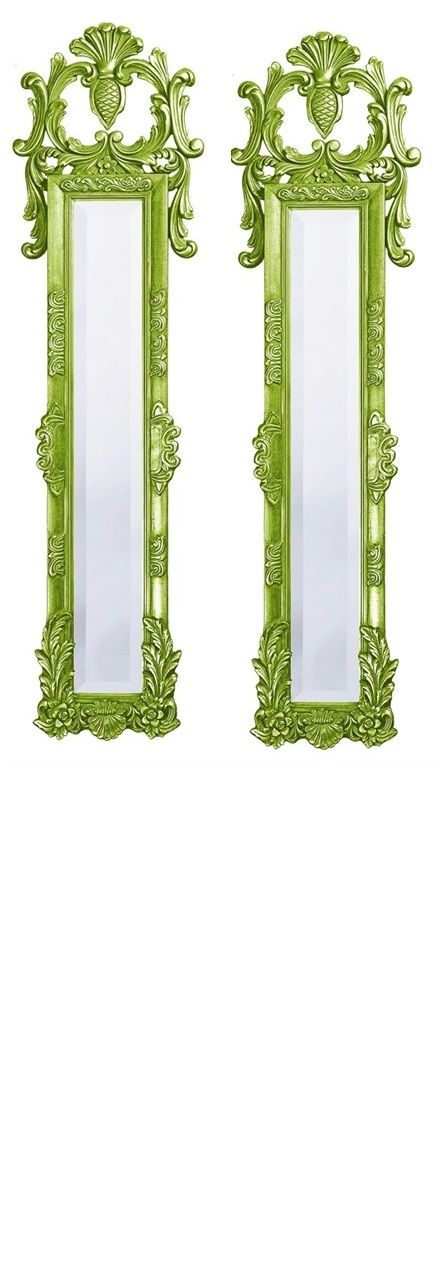 """Wall Mirrors, Grand 58"""" Tall Classic Narrow Baroque Mirrors, Green High Gloss Lacquer, so elegant, inspire your friends and followers interested in luxury interior design & gifts with more beautiful accents like this from InStyle Decor Beverly Hills, Luxury Designer Furniture, Mirrors, Lighting, Art, Accents & Gifts, over 3,500 inspirations to choose from and share with our simple one click Pinterest Pin button enjoy & happy pinning"""