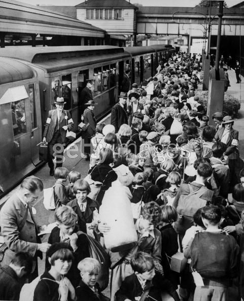 Young Evacuees  2nd September 1939: Schoolchildren crowd Ealing Broadway Station in London, some of the first youngsters to be evacuated to the country during World War II. (Photo by Fox Photos/Getty Images)