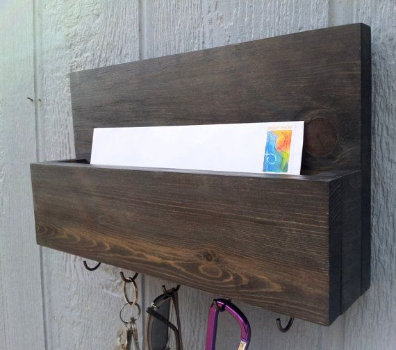 Mail and Key Rack / Mail Organizer / Mail and Key Holder / Key Hooks / Wiped Off Beluga Black Paint - The Sarah on Etsy, $27.00
