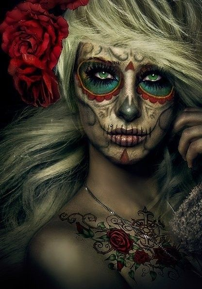 Awesome make-up job. Originally pinned by Marry Liu: Costumes Makeup, Halloween Costumes, Halloween Makeup, Makeup Ideas, Sugar Skull Makeup, Dead, Candy Skull, Costumes Ideas, Halloween Ideas
