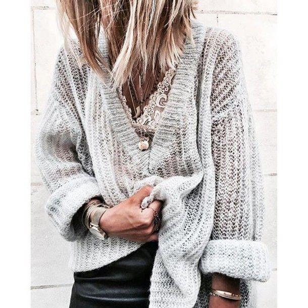 Sweater: tumblr grey bralette bracelets watch v neck lace bralette oversized comfy knitwear