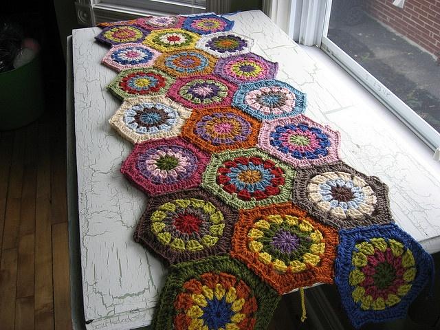 Crochet Hexagon Blanket, via Flickr.