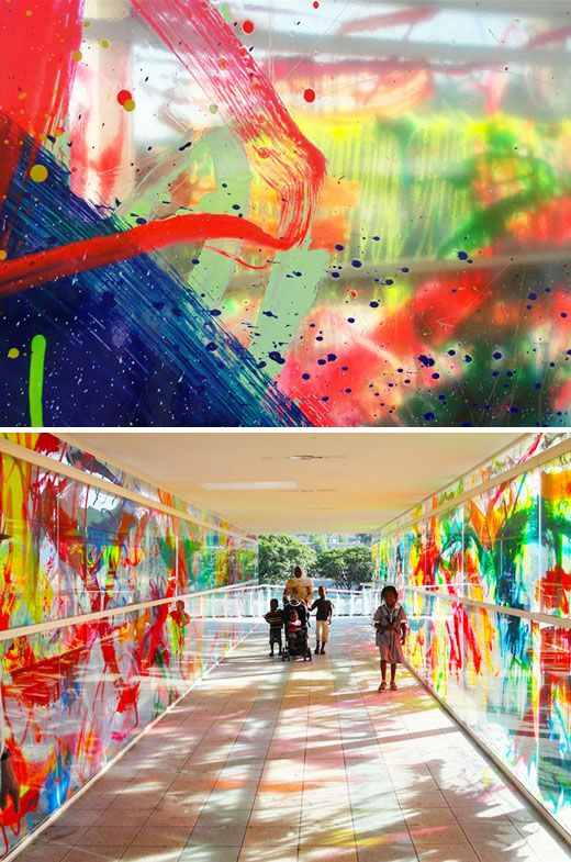 Yes! SO Cool! Children paint plexiglass and make an outdoor exhibit for them to walk through.  Viachroma by Rowena Martinich: Pedestrians are enveloped in colored lights and shadows as sunlight passes throught at different times of day.