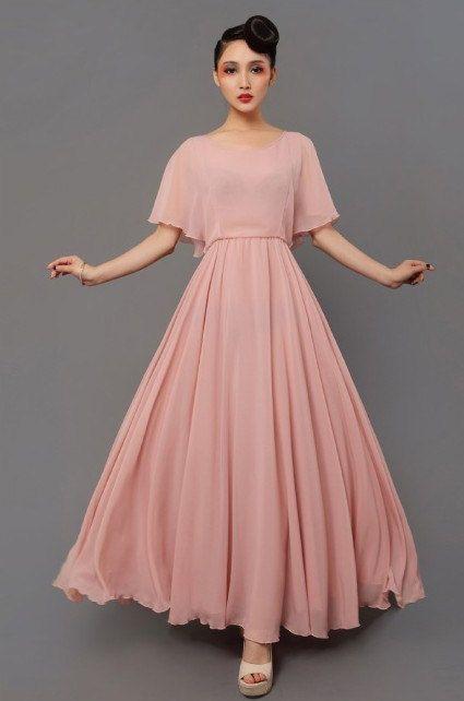 Vintage Pink Sheer Chiffon Dress Casual Bohemian by ChineseHut