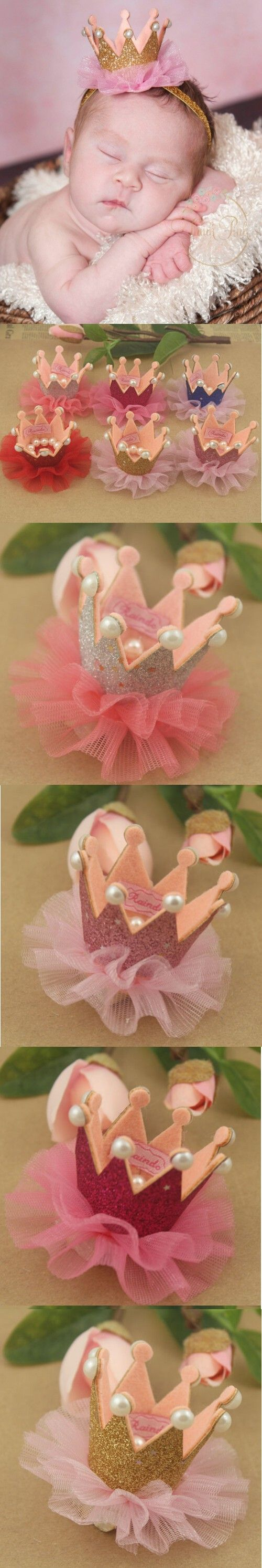 Newborn Crown,1st Birthday Crown For Baby headbands Newborn Baby Princess Crown Headbnad, Glitter Crown Headband. $33.9