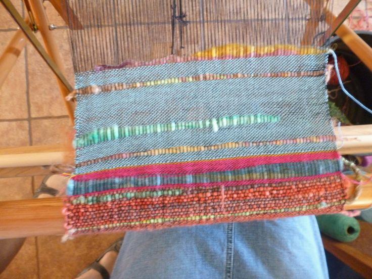 Chelsea's weaving on the Saori loom