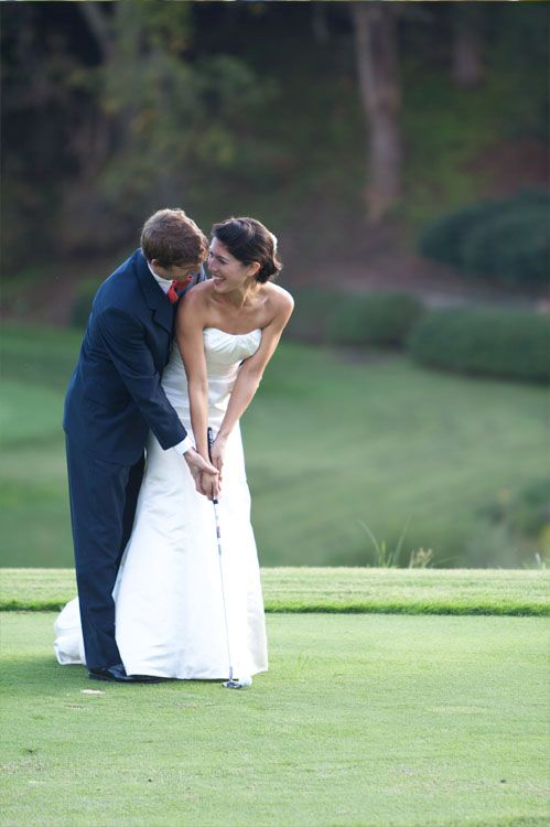 cute golf wedding shot © Meg Runion Studios. Maybe with a different sport? Cute idea! My future husband will love this!