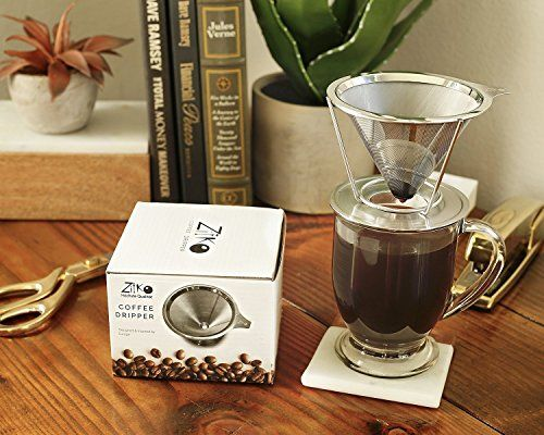 European Stainless Steel Single Cup Pour Over and Hand Drip Coffee Dripper  Filter with Stand  For Brewing Methods ** More info could be found at the image url.