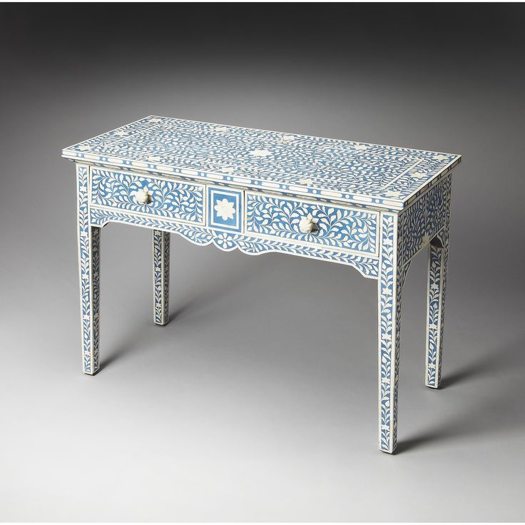 Complete your home with the Butler Olivia Blue Bone Inlay Console Table. This console table features a rectangular shape throughout its traditional style. The blue coloring adds to any decor style, an