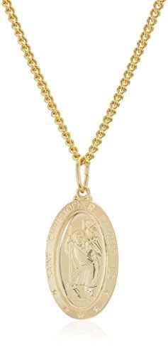 Features  14k gold-filled oval Saint Christopher medallion necklace  Quality 1/20 14K Gold Filled that will stand the test of time  Gold plated stainless steel chain with spring ring clasp.  Hand crafted in the USA