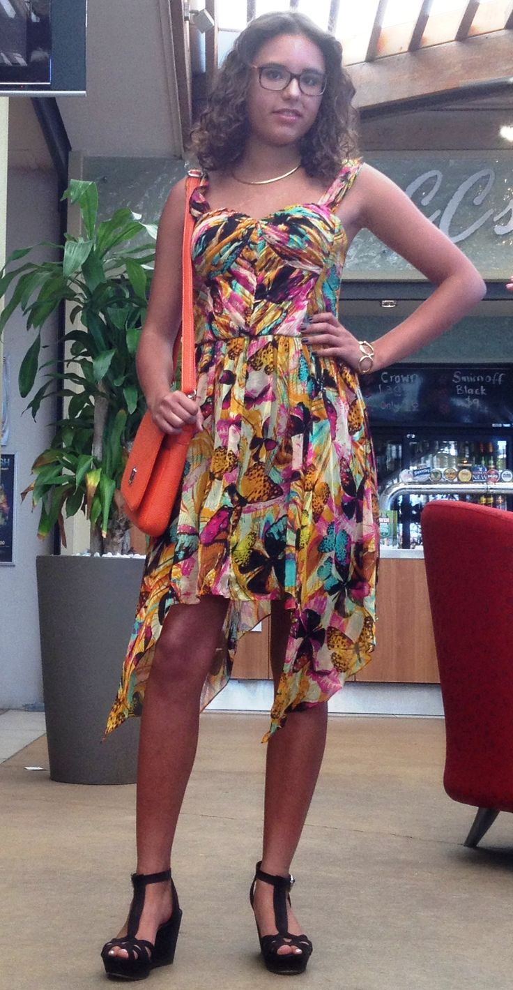 Butterfly encounter dress from Pure Moda and bag from beautiful laptop bags. Love the colours here!