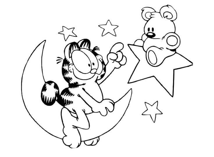 moon and stars play garfield coloring page - Garfield Coloring Pages