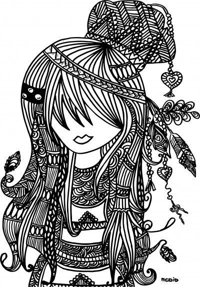 Free Printable Adult Coloring Page Female Girl Doodles Woodstock Gratis Kleurplaat Voor Volwassenen