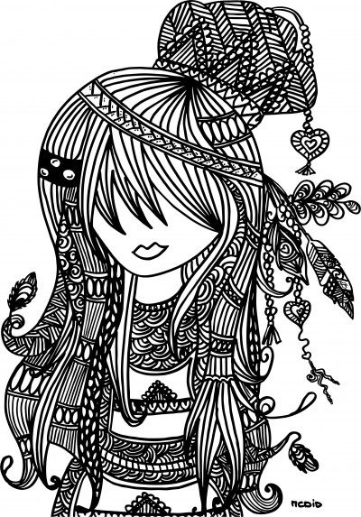 Free printable adult coloring page. Female girl doodles. Woodstock. Gratis kleurplaat voor volwassenen.