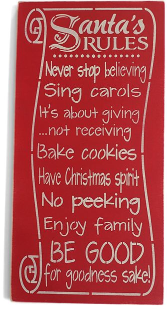 For goodness sake!  'Santa's Rules' Wall Sign | SSC Affiliate