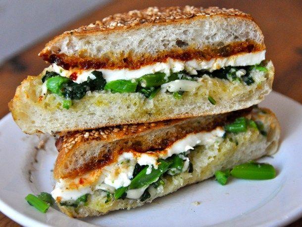 Garlicky Broccoli Rabe, Fresh Mozzarella, And Tomato Jam Sandwich