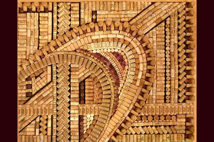 Marcello - Artist, Beki Morris, creates three dimensional wine cork art, using wine and champagne corks from all over the world