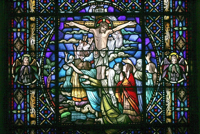 Stained glass window of the Crucifixion in Holy Cross Cathedral, Boston.    Photo by George Martell, Archdiocese of Boston