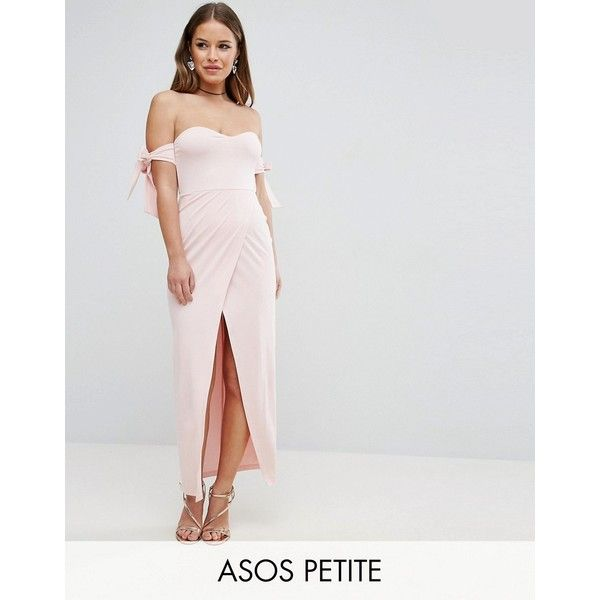 ASOS PETITE Bow Off The Shoulder Maxi Dress With Wrap