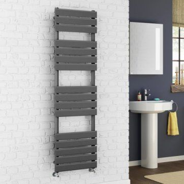1600x450mm Anthracite Flat Panel Ladder Towel Radiator - Francis [PT- RA1600450] - £249.99 : Platinum Taps & Bathrooms