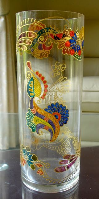 Glass Painting Vases With Henna | Zaufishan