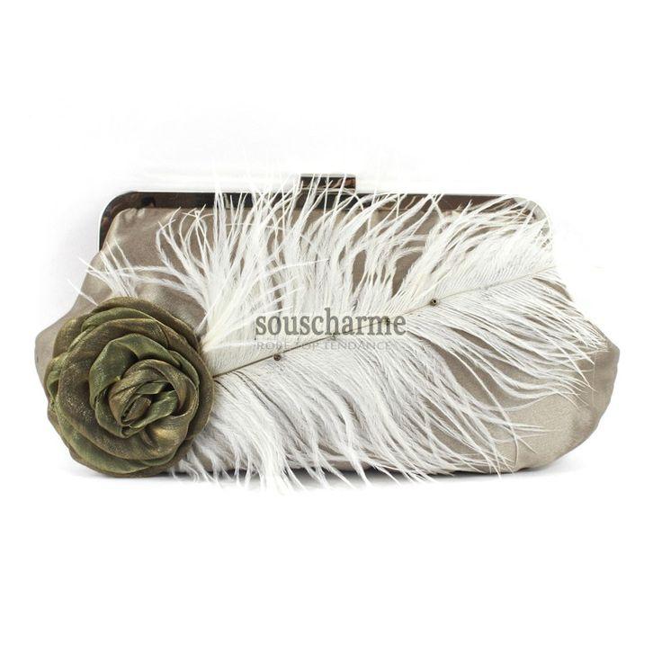 Pochette soirée couleur kaki en velour et fleur organza gris orné de plume blanche pochette femme pas cher