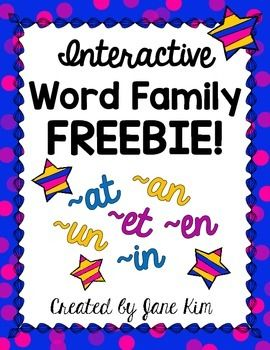 Enjoy this interactive word family FREEBIE.  The word families included are -at, -an, -en, -et, -in, and -un.  For each word family, there are three interactive activities: Word Family Mats, Word Family Flaps, and Word Family Tabs. These activities will reinforce rhyming skills and word family recognition.