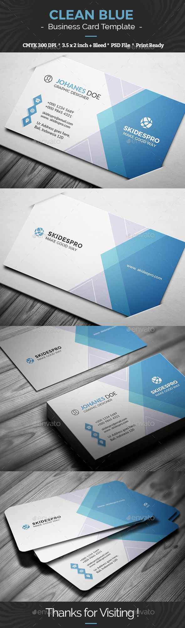 Clean Blue Business Card Template Business Card Template Psd Blue Business Card