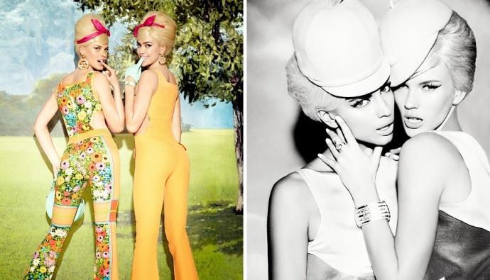 Две русские модели Анна Вьялицына и Ирина Шейк сыграли сестер-артисток в веселой съемке Эллен вон Унверт Sister Act для журнала Vs