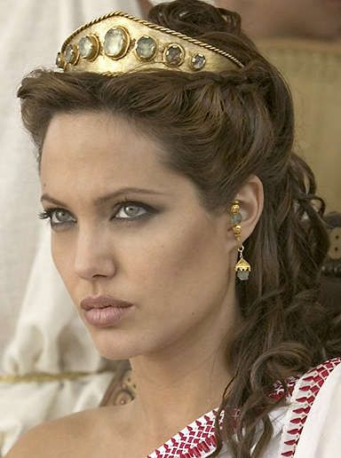 greek goddess makeup and hair | Angelina Jolie as Olympias