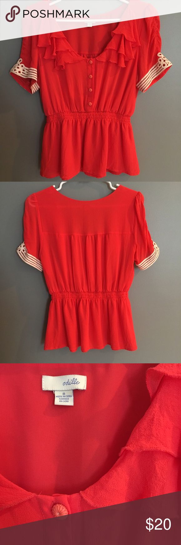 Anthropologie Coral Blouse Size 8 Adorable coral blouse with button detailing on the front , cream embroidery on the sleeves, and cinched waist. Worn twice. Excellent condition! Anthropologie Tops Blouses