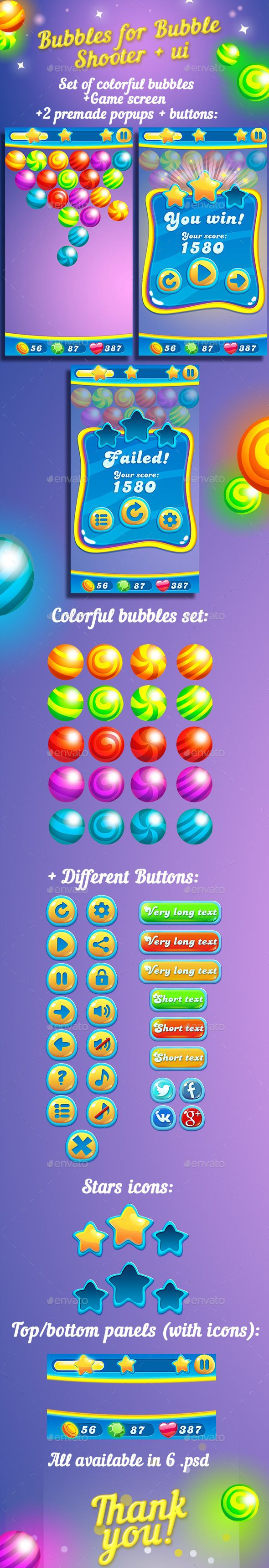 Bubbles For Bubble Shooter Game + UI kit — Photoshop PSD #casual asset #sweets • Available here → https://graphicriver.net/item/bubbles-for-bubble-shooter-game-ui-kit/13813078?ref=pxcr
