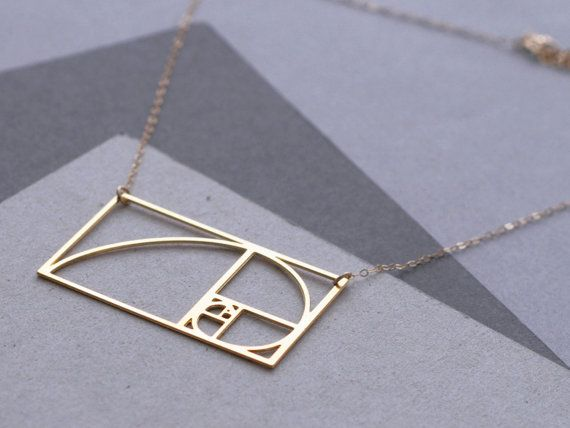 Fibonacci Spiral Golden Ratio necklace by WildThingStudio on Etsy, $70.00