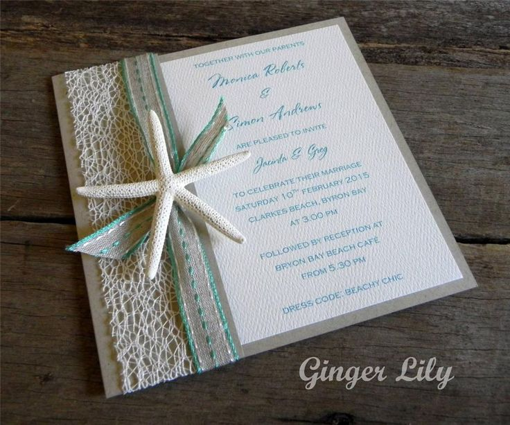 Rustic Beach Starfish DIY Wedding Invitation Kit ~ U0027CAYMANu0027 ~ Makes 25  Invites